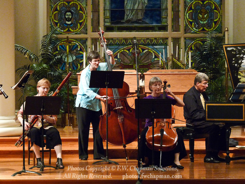 Valley Vivaldi players Susan Shaw, bassoon, Nancy Merriam, bass, Deborah Davis, cello, and Allan Birney, harpsichord, perform in a Sunday evening concert starting at 7:30 PM on July 19, 2009 at Wesley Church in Bethlehem, Pennsylvania, USA.