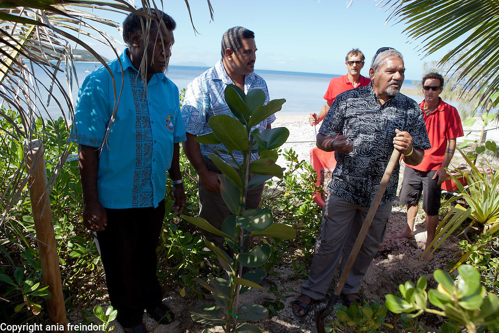 """New Caledonia, Noumea, program """"One Tree, One Day, One life"""", Everything started with the federation of 14 States and Territories from the Pacific<br /> on the operation « One tree, one day, a life », an initiative of Mr. Anthony Lecren,<br /> Member of the Government of New Caledonia in charge of Economy and<br /> Sustainable Development, which allowed to bring a common voice for Oceania<br /> in Rio +20. The aim is to plant, every year, as many tree as inhabitants in the<br /> Pacific (250000 in New Caledonia but 10 million in Oceania).<br /> This first action of stature incited leaders from the insular States and Territories of<br /> the Pacific to go further and to federate during OCEANIA 21 Meetings, an<br /> initiative of the Government of New Caledonia. The objective: to be heard in the<br /> nations' concert and to provide concrete answers to specific and shared<br /> problems related to island sustainable development, with a politic of best<br /> practices and information sharing. Representatives of various states, plant their trees during the Oceania 21, 2014 meetings."""