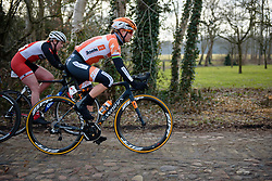 Amalie Dideriksen across the cobbles at Drentse 8 van Westerveld 2018 - a 142 km road race on March 9, 2018, in Dwingeloo, Netherlands. (Photo by Sean Robinson/Velofocus.com)