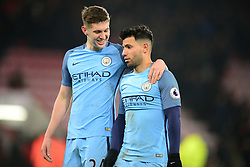 John Stones of Manchester City puts his arm around Sergio Aguero of Manchester City - Mandatory by-line: Alex James/JMP - 13/02/2017 - FOOTBALL - Vitality Stadium - Bournemouth, England - Bournemouth v Manchester City - Premier League