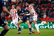 Leeds United midfielder Kemar Roofe (7) in action  during the EFL Sky Bet Championship match between Stoke City and Leeds United at the Bet365 Stadium, Stoke-on-Trent, England on 19 January 2019.