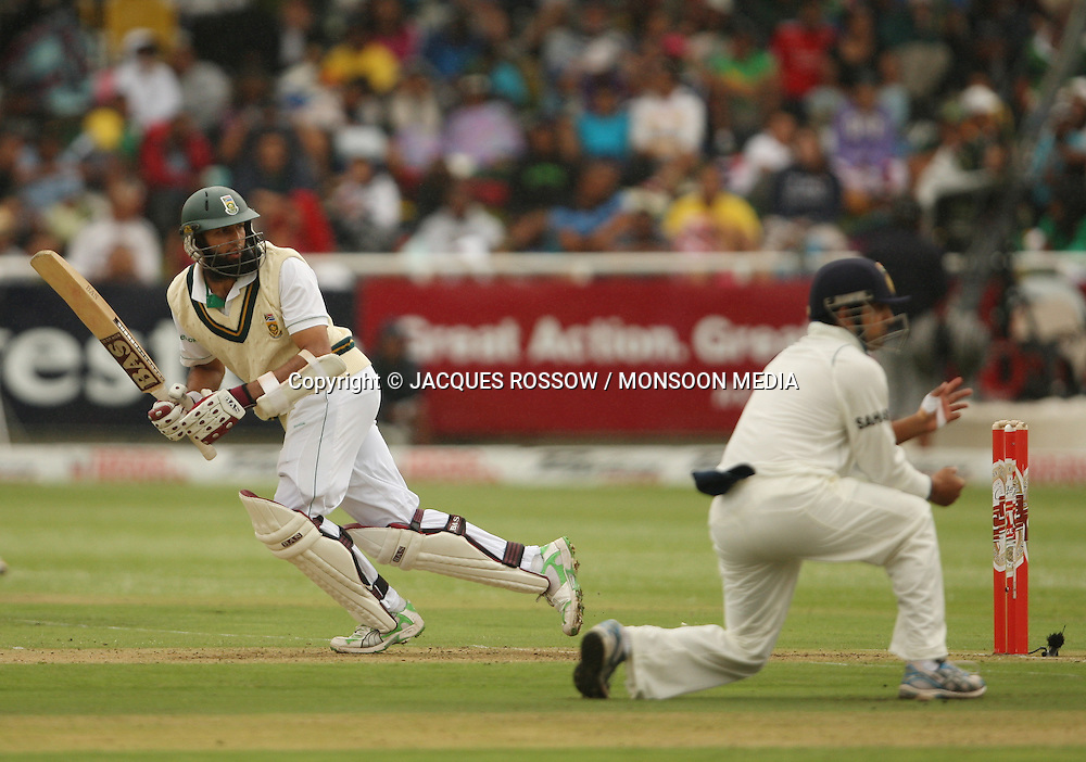 Hashim Amla turns the ball leg-side during Day 1 of the third and final Test between South Africa and India played at Sahara Park Newlands in Cape Town, South Africa, on 2 January 2011. Photo by Jacques Rossouw / MONSOON MEDIA