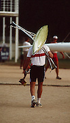.Barcelona Olympic Games 1992.Olympic Regatta - Lake Banyoles.Atletes around the boating area..GER M1X Thomas Lange, carries his boat back to the boat rack..       {Mandatory Credit: © Peter Spurrier/Intersport Images]..........       {Mandatory Credit: © Peter Spurrier/Intersport Images].........
