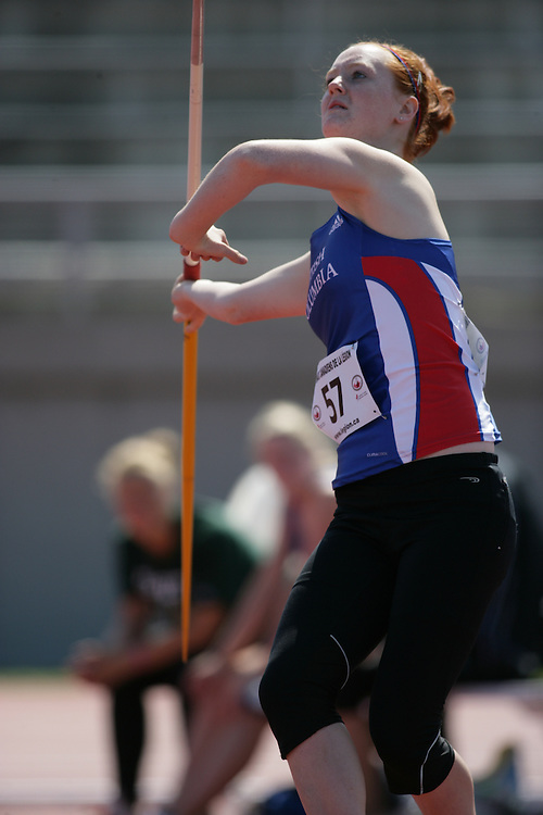 (Sherbrooke, Quebec -- 8 Aug 2009)  Samantha Kennedy of British Columbia competes in girls under-17 (youth) javelin at the 2009 Royal Canadian Legion National Youth track and field championships. Photograph copyright Sean Burges / Mundo Sport Images  2009.