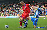 Liam Kelly & Peter Vincenti during the Sky Bet League 1 match between Rochdale and Oldham Athletic at Spotland, Rochdale, England on 24 October 2015. Photo by Daniel Youngs.