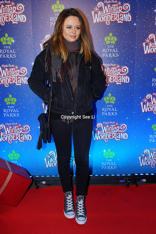London, England, UK. 16th November 2017. Emily Atack attend the VIP launch of Hyde Park Winter Wonderland 2017 for a preview. tomorrow is opening for the public