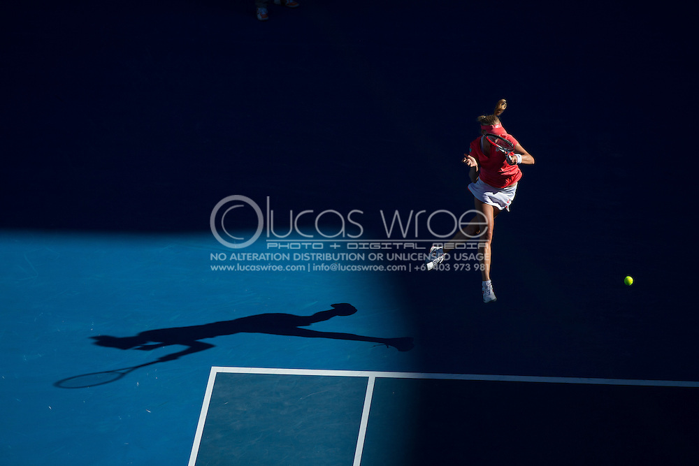 Ekaterina Makarova (RUS). Day 8. Round 4. Melbourne Olympic Park, Melbourne, Victoria, Australia. 22/01/2013. Photo By Lucas Wroe