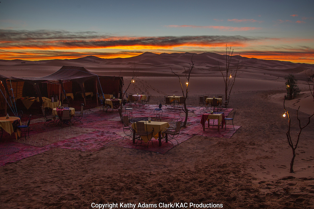 Dining in the Sahara Desert, at the Auberge du Sud, near Erfoud, on the edge of the Sahara Desert in eastern Morocco.