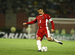 BELGRADE, SERBIA & MONTENEGRO - Wednesday, August 20, 2003: Wales' captain Gary Speed during the UEFA European Championship qualifying match against Serbia & Montenegro at the Red Star Stadium. (Pic by David Rawcliffe/Propaganda)