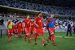 TBILSI, GEORGIA - Friday, October 6, 2017: Wales' captain Ashley Williams and Chris Gunter before the 2018 FIFA World Cup Qualifying Group D match between Georgia and Wales at the Boris Paichadze Dinamo Arena. (Pic by David Rawcliffe/Propaganda)