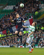 Dundee's Jim McAlister leaps high above Celtic's James Forrest - Celtic v Dundee, SPFL Premiership at Celtic Park<br /> <br />  - © David Young - www.davidyoungphoto.co.uk - email: davidyoungphoto@gmail.com