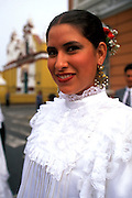 PERU, TRUJILLO, FESTIVALS dancers in colonial dress parade