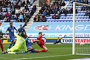 Wigan Athletic forward Jamal Lowe (9) scores a goal 1-0  during the EFL Sky Bet Championship match between Wigan Athletic and Nottingham Forest at the DW Stadium, Wigan, England on 20 October 2019.
