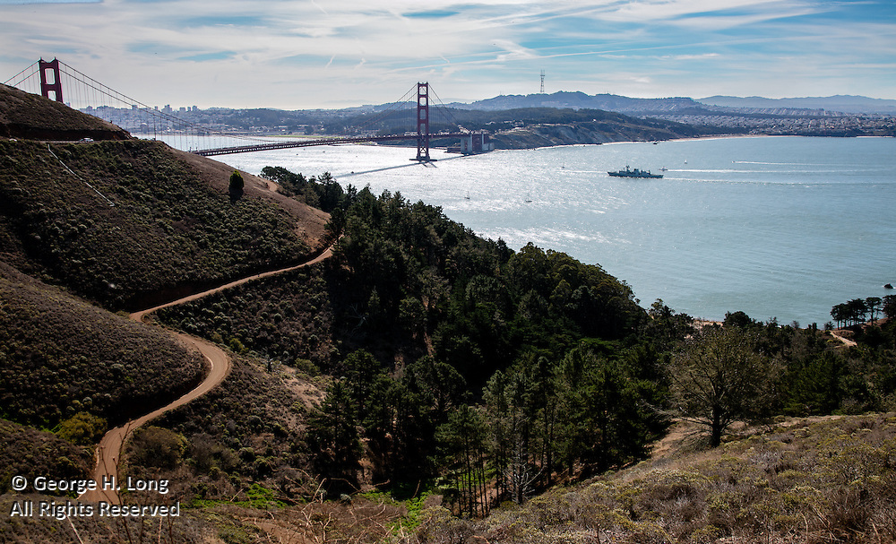 View of San Francisco Bay and Golden Gate Bridge from Mount Tamalpais; San Francisco, California