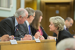 @Licensed to London News Pictures 05/06/2014.Council Chamber, Sessions House, Maidstone, Kent.Panel Chairman Mr M Hill OBE in conversation with Anne Barnes. Anne Barnes Kent's Police and Crime Commissioner discussing the allegations surrounding the Channel 4 fly-on-the-wall documentary and its effect on Kent Police at a meeting of Kent and Medway Police and Crime Panel held in Maidstone today 05/06/14. Photo credit: Manu Palomeque/LNP