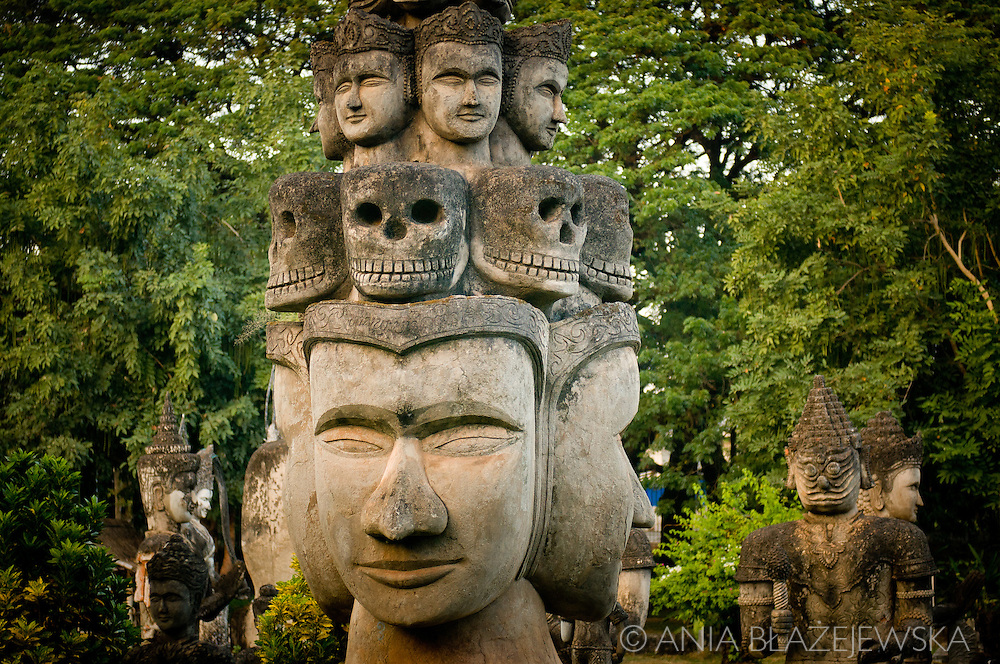 Buddha Park also known as Xieng Khuan  is a park full of bizarre and eccentric statues and it is located 25 km southeast from Vientiane, Laos at a bank of Mekong River.