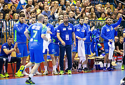 Veselin Vujovic, head coach of Slovenia and players of Slovenia during handball match between National teams of Slovenia and Netherlands in Qualifications of 2020 Men's EHF EURO, on April 14, 2019, in Arena Zlatorog, Celje, Slovenia. Photo by Vid Ponikvar / Sportida