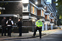 © Licensed to London News Pictures. 11/10/2019. London, UK. These scene at Grimsel Path on the Brandon Estane in Camberwell, south London where an 18 year old male was stabbed to death yesterday evening. Photo credit: Ben Cawthra/LNP