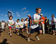 Superkids and Family Triathlon.2011 Geelong Multi-Sport Festival.Eastern Beach, Geelong, Victoria, Australia.19/02/11.Photo By Lucas Wroe