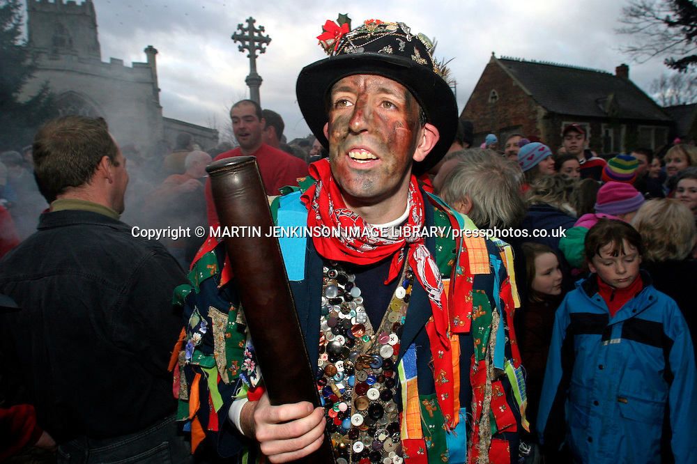 The Fool before the Haxey Hood game, Haxey Nth Lincs.