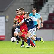 Scotland's Ryan Fraser bursts past FYR Macedonia's Marjan Radeski during Scotland Under-21 v FYR Macedonia,  UEFA Under 21 championship qualifier  at Tynecastle, Edinburgh. Photo: David Young<br /> <br />  - © David Young - www.davidyoungphoto.co.uk - email: davidyoungphoto@gmail.com