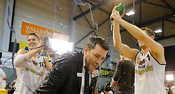 03.06.2015, Aktiv Park, Güssing, AUT, ABL, Magnofit Güssing Knights vs BS Zepter Vienna, Finale 4. Spiel, im Bild Thomas Klepeisz (Güssing), Güssing Headcoach Matthias Zollner und Matthias Klepeisz (Güssing) // during the Austrian Basketball League 4th final best of five match between Magnofit Guessing Knights and BC Zepter Vienna at the Aktiv Park, Güssing, Austria on 2015/06/03, EXPA Pictures © 2015, PhotoCredit: EXPA/ Erwin Scheriau