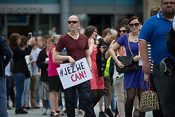 © Licensed to London News Pictures . 23/07/2016 . Salford , UK . Supporters queue for the event . Jeremy Corbyn launches his campaign to be re-elected Labour Party leader , at the Lowry Theatre at Salford Quays . Photo credit : Joel Goodman/LNP