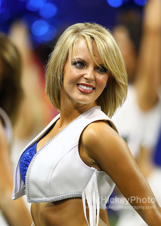 Aug. 26, 2011; Indianapolis, IN, USA; Indianapolis Colts cheerleader seen on the sidelines against the Green Bay Packers at Lucas Oil Stadium. Mandatory credit: Michael Hickey-US PRESSWIRE
