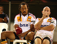 Tana Umaga and Brendon Leonard.Super 14 rugby union match, Brumbies v Cheifs, Canberra, Australia. Saturday 19 February 2011. Photo: Paul Seiser/PHOTOSPORT.../SPORTZPICS