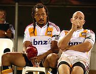 Tana Umaga and Brendon Leonard.Super 14 rugby union match, Brumbies v Cheifs, Canberra, Australia. Saturday 19 February 2011. Photo: Paul Seiser/PHOTOSPORT.../SPORTZPICS