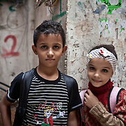 Children - brother and sister from Syria living in Shatila camp in Beirut, Lebanon