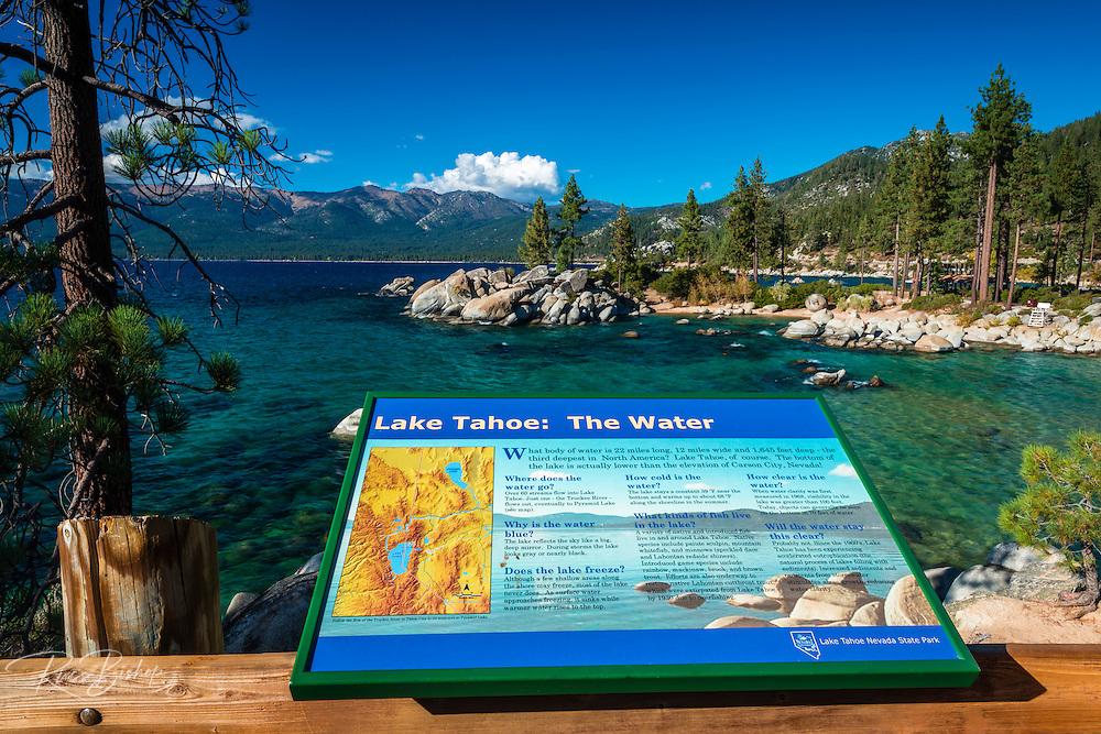 Interpretive sign at Sand Harbor State Park, Lake Tahoe, Nevada, USA