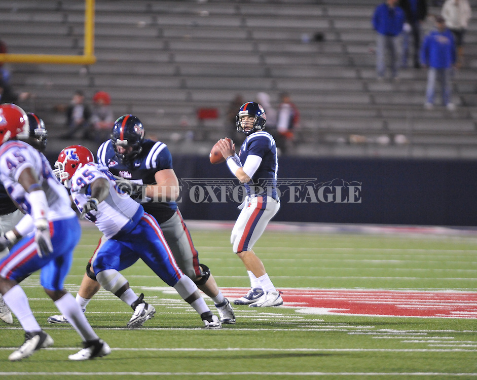 Ole Miss' Zack Stoudt (8) vs. Louisiana Tech in Oxford, Miss. on Saturday, November 12, 2011.