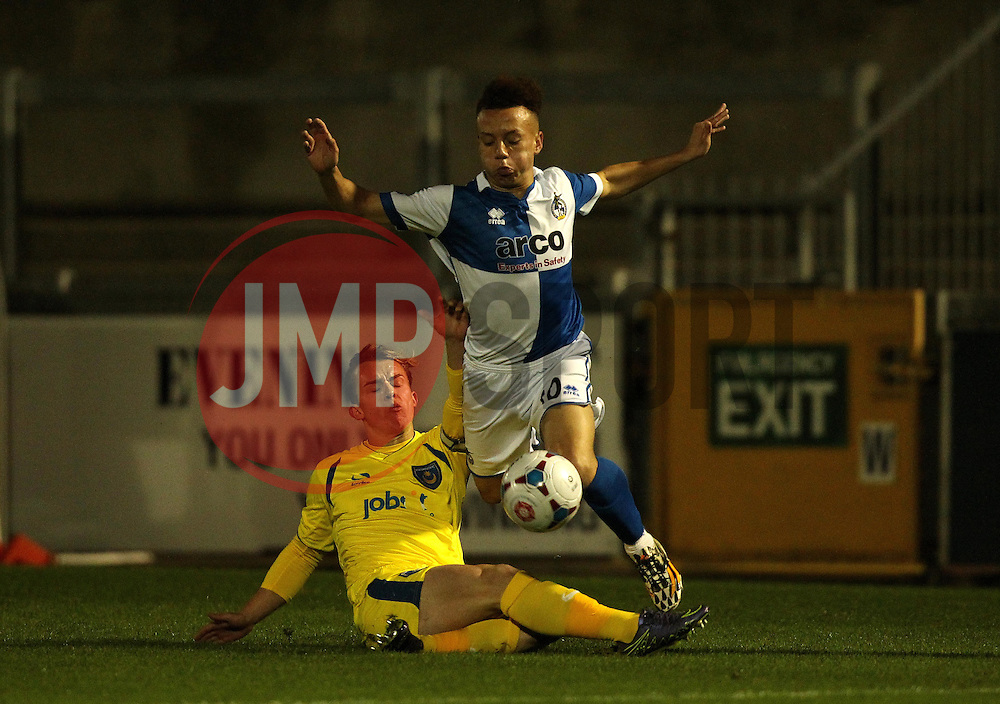 Tyrone Tucker-Dixon of Bristol Rovers is tackled by Calvin Davies of Portsmouth - Mandatory byline: Robbie Stephenson/JMP - 07966 386802 - 17/11/2015 - Rugby - Memorial Ground - Bristol, England - Bristol Rovers v Portsmouth - FA Youth Cup