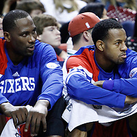 21 January 2012: Philadelphia Sixers power forward Elton Brand (42) and Philadelphia Sixers small forward Andre Iguodala (9) are seen on the bench during the Miami Heat 113-92 victory over the Philadelphia Sixers at the AmericanAirlines Arena, Miami, Florida, USA.