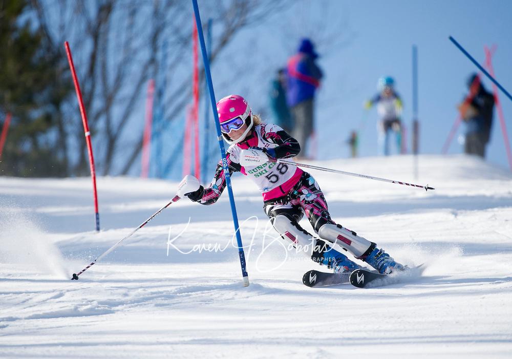 Piche Invitational Slalom 1st run U12 girls Sunday, March 17, 2013.  Karen Bobotas Photographer