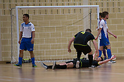Dundee Futsal (blue and white) v TMT (black) in the Scottish Futsal Finals day semi final at Perth College, Perth, Photo: David Young<br /> <br />  - &copy; David Young - www.davidyoungphoto.co.uk - email: davidyoungphoto@gmail.com