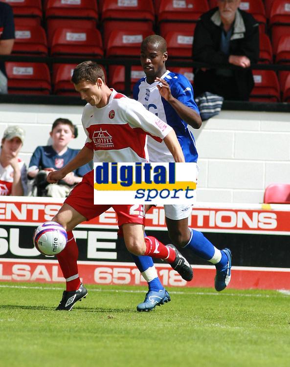 Photo: Mark Stephenson.<br /> Walsall v Birmingham City. Pre Season Friendly. 28/07/2007.New signing's,Walsall's Paul Boertien (L) and Birmingham;s Oliver Kapo (R)