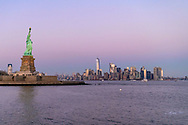 Statue of Liberty and Lower Manhattan Skyline, Statue of Liberty National Monument, New York City, New  York, New Jersey