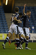 Picture by David Horn/Focus Images Ltd +44 7545 970036<br /> 03/12/2013<br /> Steve Morison of Millwall (right) celebrates scoring his first goal of the game to make it 1-0 during the Sky Bet Championship match at The Den, London.