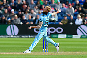 Ben Stokes of England bowling during the ICC Cricket World Cup 2019 match between England and Bangladesh the Cardiff Wales Stadium at Sophia Gardens, Cardiff, Wales on 8 June 2019.