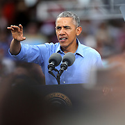 President Barack Obama campaigns for Democratic nominee Hillary Clinton at Osceola Park in Kissimmee Florida USA  06 Nov 2016