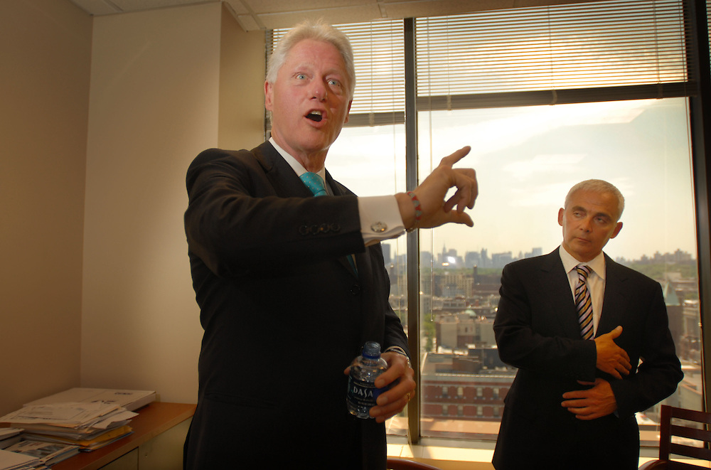 Former president Clinton (left) announced today that his foundation is launching a new Sustainable Growth Initiative in Latin America..The Clinton Giustra Sustainable Growth initiative (CGSGI) with Canadian Businessman Frank Giusta (right) and Carlos Slim Helu, the chaiman of Grupo Carso. Giustra who has promised $100 million, as well as one half of his future earnings from his work in the natural resources sector.