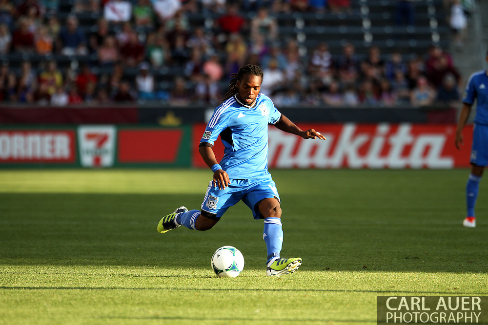 June 15th, 2013 - San Jose Earthquake midfielder Walter Martinez (10) sets to dump the ball in front of the Colorado goal in the first half of action of the MLS match between San Jose Earthquake and the Colorado Rapids at Dick's Sporting Goods Park in Commerce City, CO