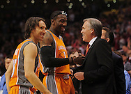 Mar. 26 2010; Phoenix, AZ, USA; Phoenix Suns guard Steve Nash (13) and forward Amare Stoudemire (1) talk with New York Knicks head coach Mike D'Anoni prior to the first half at the US Airways Center.  Mandatory Credit: Jennifer Stewart-US PRESSWIRE.
