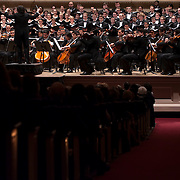 "December 12, 2012 - New York, NY : Conductor Gustavo Dudamel, on pedestal, leads the  Westminster Symphonic Choir and the Simón Bolívar Symphony Orchestra of Venezuela as they perform Heitor Villa-Lobos's ""Chôros No.10"" at Carnegie Hall's Stern Auditorium / Perelman Stage on Tuesday evening.  CREDIT: Karsten Moran for The New York Times"