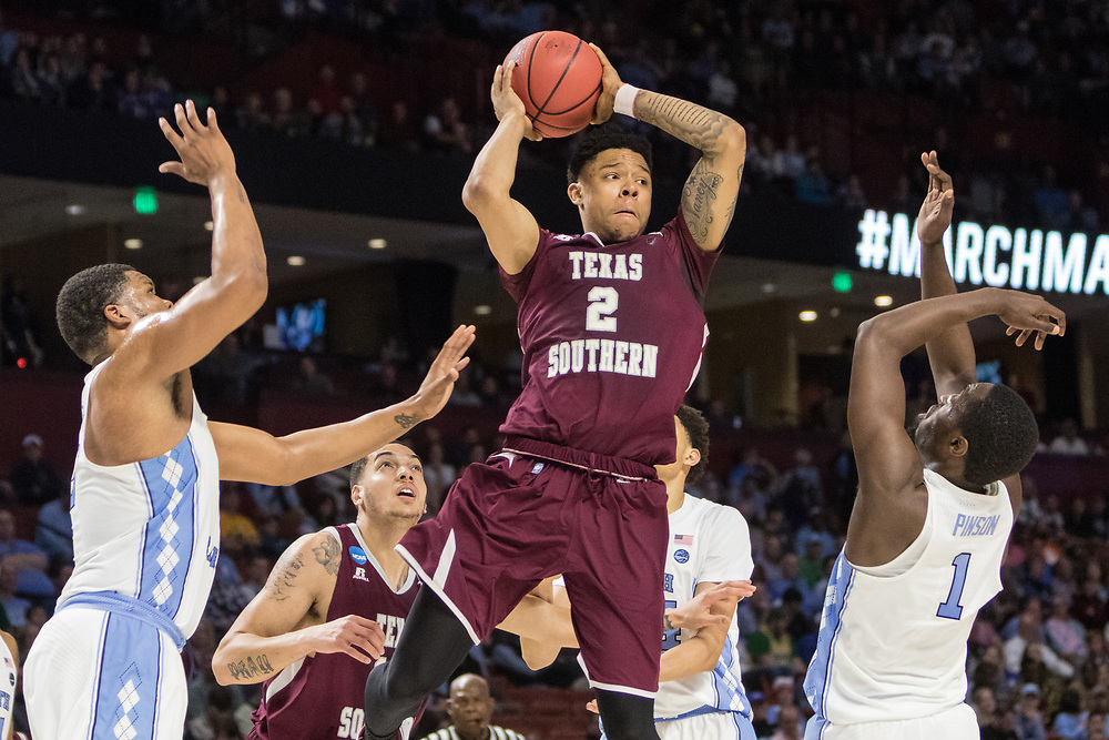 Greenville, South Carolina - March 17, 2017: TSU Tiger Zach Lofton makes a pass during the game. The TSU Tigers played the UNC Tarheels in the first round of the 2017 NCAA Men's Tournament (Michael Starghill, Jr. for The Undefeated)