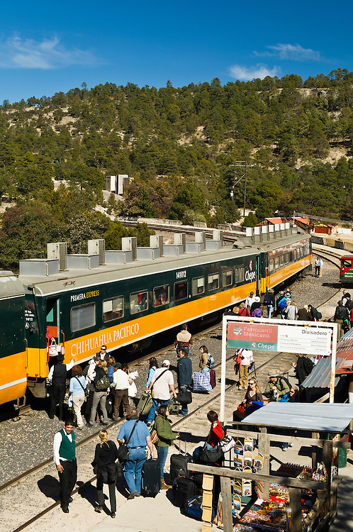 El Chepe, the Copper Canyon Railroad train at the Divisidero station in Chihuahua, Mexico.