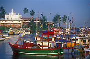 Fishing harbour at Beruwela. Mosque in the background.