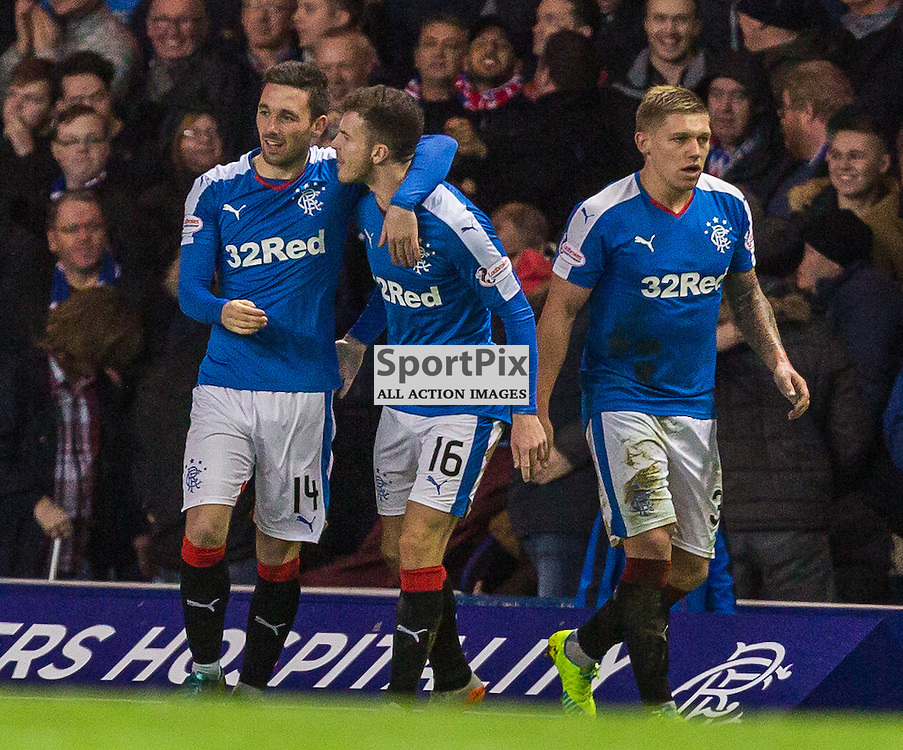 Nicky Clarke scores during the match between Rangers and Hibernian (c) ROSS EAGLESHAM | Sportpix.co.uk